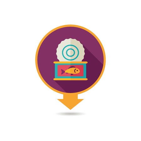 Fish preserves pin map icon. Farm animal Map pointer. Map marker. Graph symbol for your web site design, logo, app, UI. Vector illustration