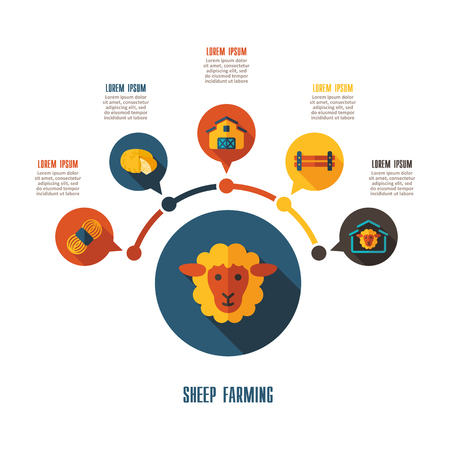 Sheep farming icon and agriculture infographics. Farm sign graph symbol for your web site design, app, user interface vector illustration. Illustration