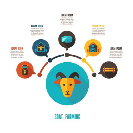 Goat farming icon and agriculture infographics. Farm sign graph symbol for your web site design, app, user interface vector illustration.