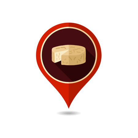 Soft cheese with mold pin map icon. Farm animal Map pointer. Map marker. Graph symbol for your web site design, logo, app, UI. Vector illustration Illustration