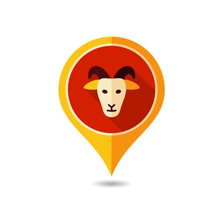 Goat pin map icon. Farm animal Map pointer. Map marker. Graph symbol for your web site design, logo, app, UI. Vector illustration