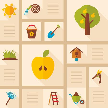 Garden Farm icons set. Graph symbol for your web site design.