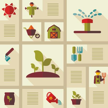 Garden Farm icons set. Illustration