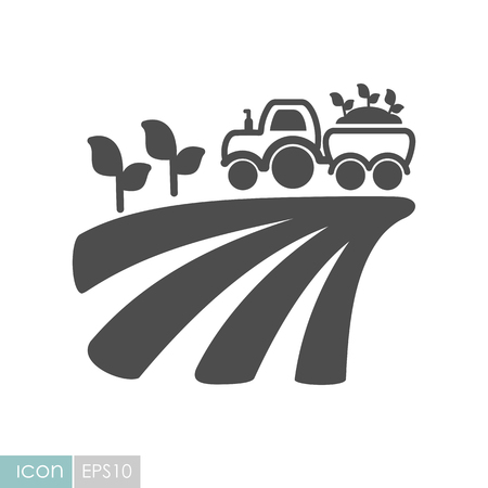 Tractor on field harvest seedling flat icon. Agriculture sign. Graph symbol for your web site design, icon, app, UI.