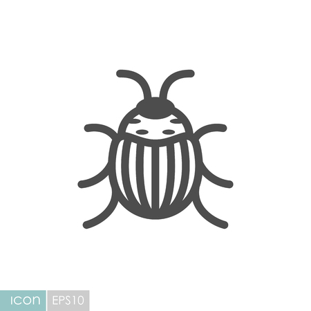 Bug icon in black and white Illustration.