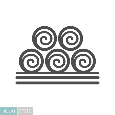 Round hay bales icon. Agriculture sign. Graph symbol for your web site design, logo, app, UI. Vector illustration, EPS10.