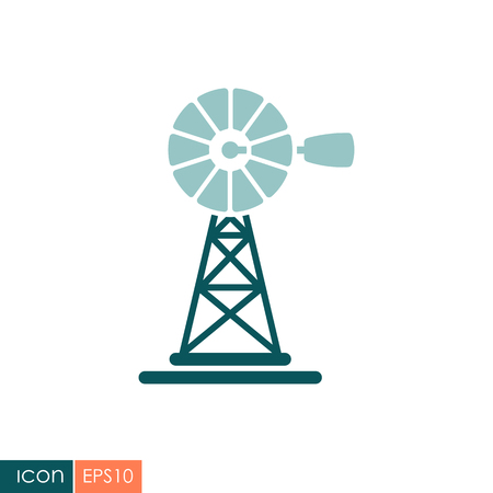 Wind pump flat icon. Agriculture sign. Graph symbol for your web site design, logo. Vector illustration Illustration