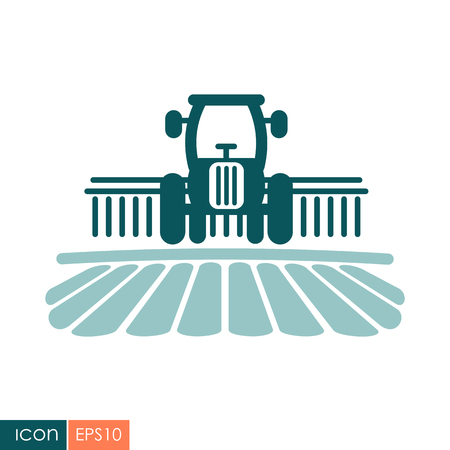Tractor processes rural landscape icon. Agriculture sign. Graph symbol for your web site design, logo. Vector illustration