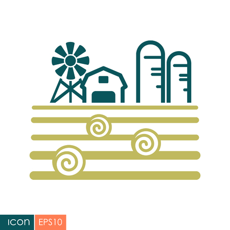 Farm landscape with barn, wind pump, haystack and granary icon. Çizim