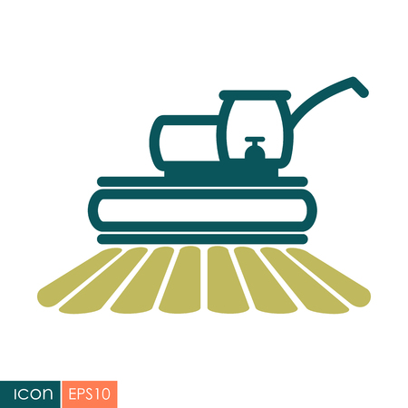 Combine harvester flat icon. Agriculture sign.