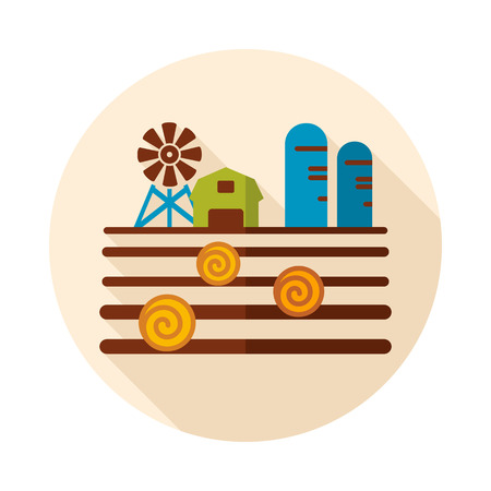 Farm landscape with barn, windpump, haystack and granary icon. Agriculture sign.