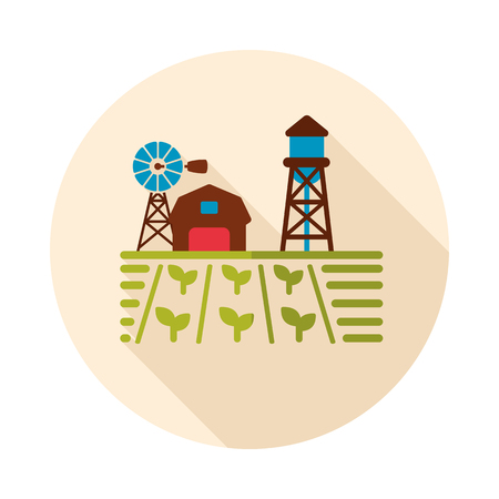 Farm landscape with barn, windpump, seedling and water tower icon. Agriculture sign. Graph symbol for your web site design, logo, app, UI. Vector illustration, EPS10.