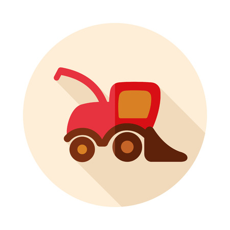 Combine harvester flat icon. Agriculture sign. Graph symbol for your web site design, logo, app, UI. Vector illustration, EPS10. Illustration