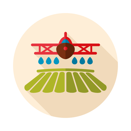 Crop duster airplane spraying a farm field icon. Agriculture sign.