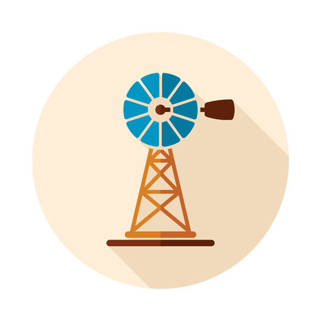 Wind pump flat icon. Agriculture sign. Graph symbol for your web site design, logo, app, UI. Vector illustration, EPS10. Stock Vector - 101579446