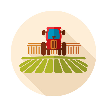 Tractor processes the earth a rural landscape icon. Agriculture sign. Graph symbol for your web site design,    app, UI. Vector illustration, EPS10.