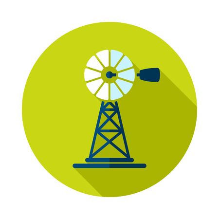 Wind pump flat icon. Agriculture sign. Graph symbol for your web site design, icon, app, UI.