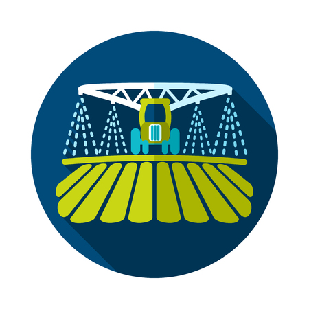 Tractor watering, soil and fertilizing field icon. Agriculture sign. Graph symbol for your web site design, logo, app, UI.
