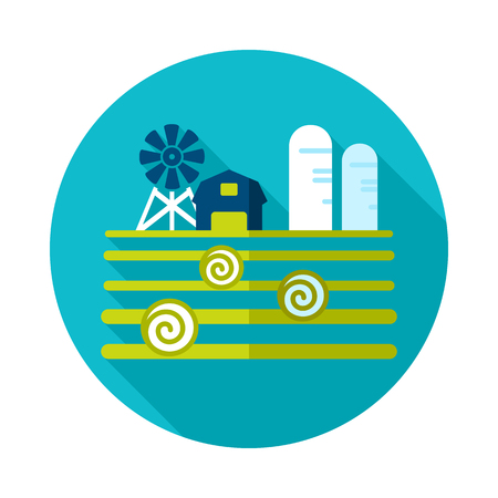 Farm landscape with barn, windpump, haystack and granary icon. Agriculture sign. Graph symbol for your web site design, app, UI.
