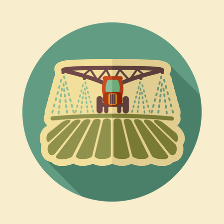 Tractor watering, soil and fertilizing field icon. Agriculture sign. Graph symbol for your web site design Vettoriali