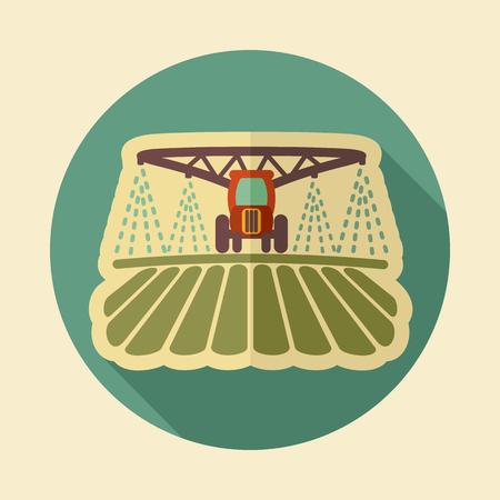 Icône de champ d'arrosage, de sol et de fertilisation du tracteur. Signe de l'agriculture. Symbole graphique pour la conception de votre site Web