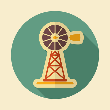 Wind pump flat icon. Agriculture sign. Graph symbol for your web site design Stock Vector - 105597882