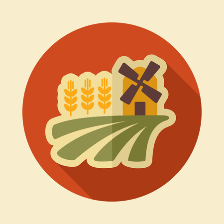 Field with a windmill and ears of wheat icon. Agriculture sign. Vecteurs