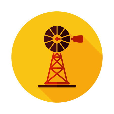 Wind pump flat icon. Agriculture sign.Graph symbol for your web site design