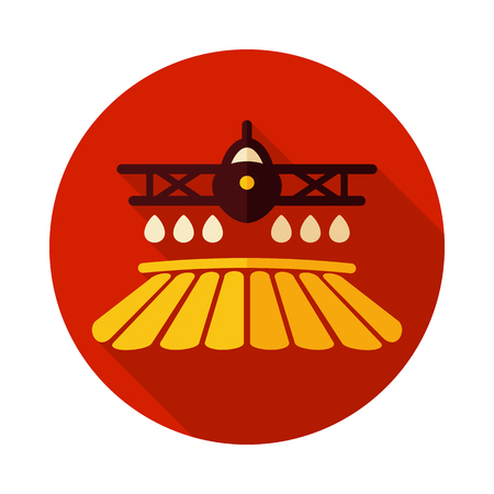 Crop duster airplane spraying a farm field icon. Agriculture sign.Graph symbol for your web site design