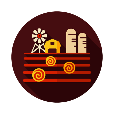 Farm landscape with barn, windpump, haystack and granary icon. Agriculture sign. Graph symbol for your web site design