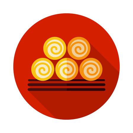 Round hay bales icon. Agriculture sign.Graph symbol for your web site design Illusztráció