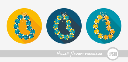 Hawaii flowers necklace, wreath outline vector icon. Illustration