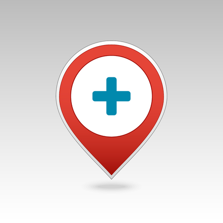 Plus pin map icon. Hospital, Clinic. Map pointer. Map markers.