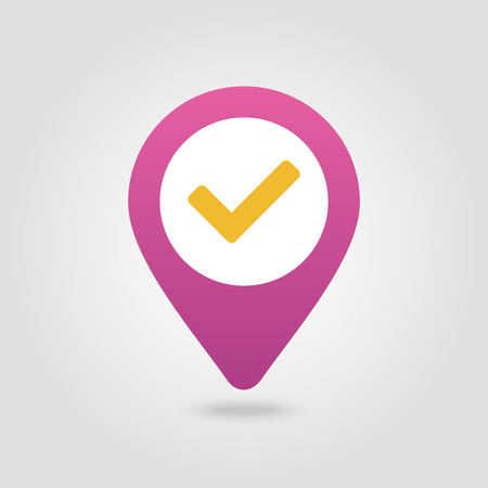 Check pin map icon. Map pointer. Map markers. Banque d'images - 102319394
