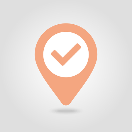 Check pin map icon. Map pointer. Map markers. Banque d'images - 102319746