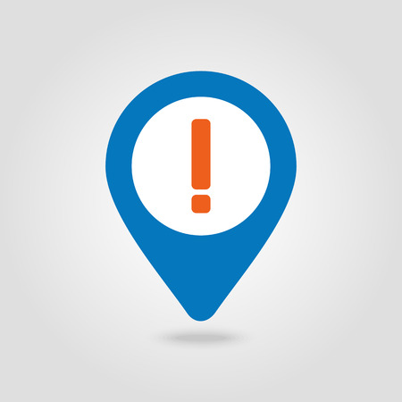 Warning attention sign. Exclamation mark pin map icon. Map pointer. Map markers.