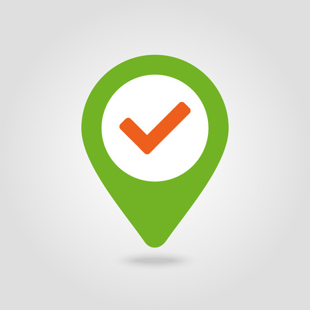 Check pin map icon. Map pointer. Map markers. Banque d'images - 102320359