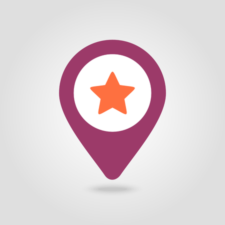 Star favorite pin map icon. Map pointer. Map markers. Illustration