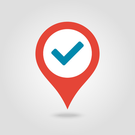 Check pin map icon. Map pointer. Map markers. Vector illustration Banque d'images - 102491723