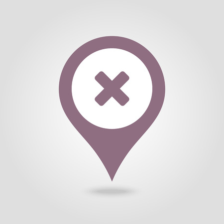 Delete pin map icon. Map pointer. Map markers. Vector illustration Vectores