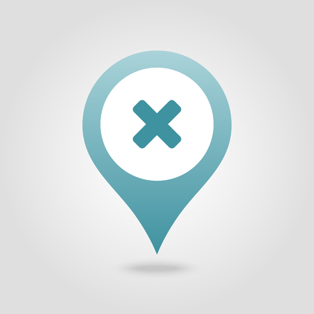 Delete pin map icon. Map pointer. Map markers. Vector illustration