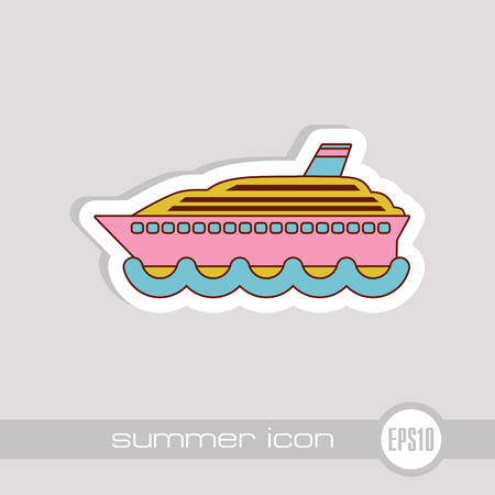 Cruise transatlantic liner vector icon. Beach. Summer. Summertime. Vacation, eps 10