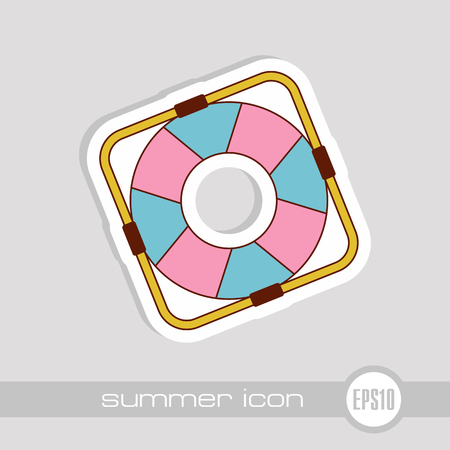 Lifebuoy vector icon. Beach. Summer. Marine. Summertime. Vacation, eps 10