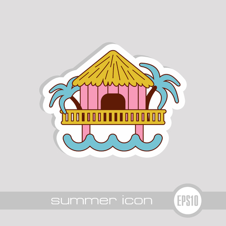 Bungalow with palm trees vector icon. Beach. Summer. Summertime. Holiday. Vacation, eps 10