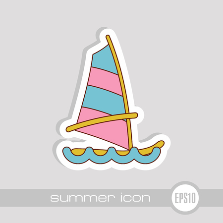 Board Windsurfing vector icon. Beach. Summer. Summertime. Holiday. Vacation, eps 10