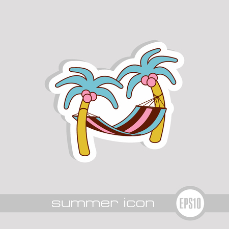 Hammock with palm trees on beach vector icon. Beach. Summer. Summertime. Holiday. Vacation, eps 10