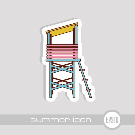 Lifeguard tower vector icon. Beach. Summer. Summertime. Vacation, eps 10