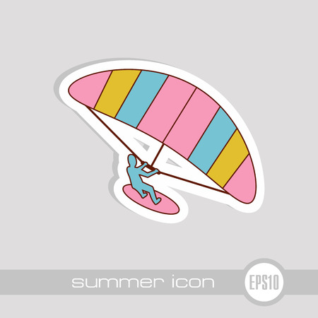 Kite boarding. Kite surfing vector icon. Beach. Summer. Summertime. Holiday. Vacation, eps 10