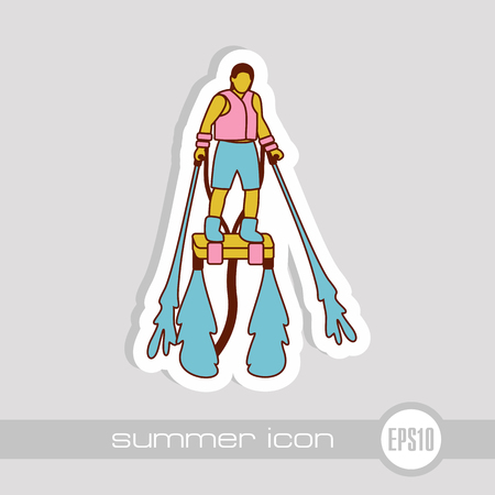 FlyBoard FlySurf vector icon. Beach. Summer. Summertime. Holiday. Vacation, ride, water sport, eps 10 Stock Vector - 103411683