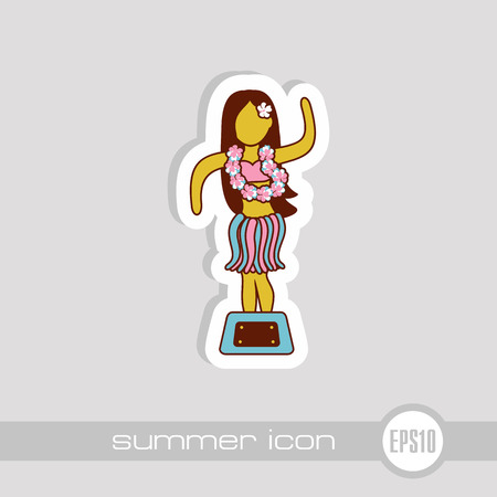 Hula Dancer Statuette vector icon. Summer. Summertime. Holiday. Vacation, eps 10 Illustration